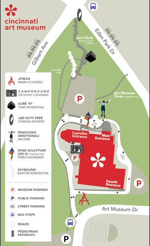 A map of Art Climb, north of Cincinnati Art Museum grounds, including every exhibit and parking options.