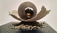 "PJ Grimm (b. 1983), Egg Formation 1 Campbell County Recorder series ""Golden Age"", 2016, paper pulp (made from the Campbell County Recorder), cement, acrylic & gold leaf on wooden base"